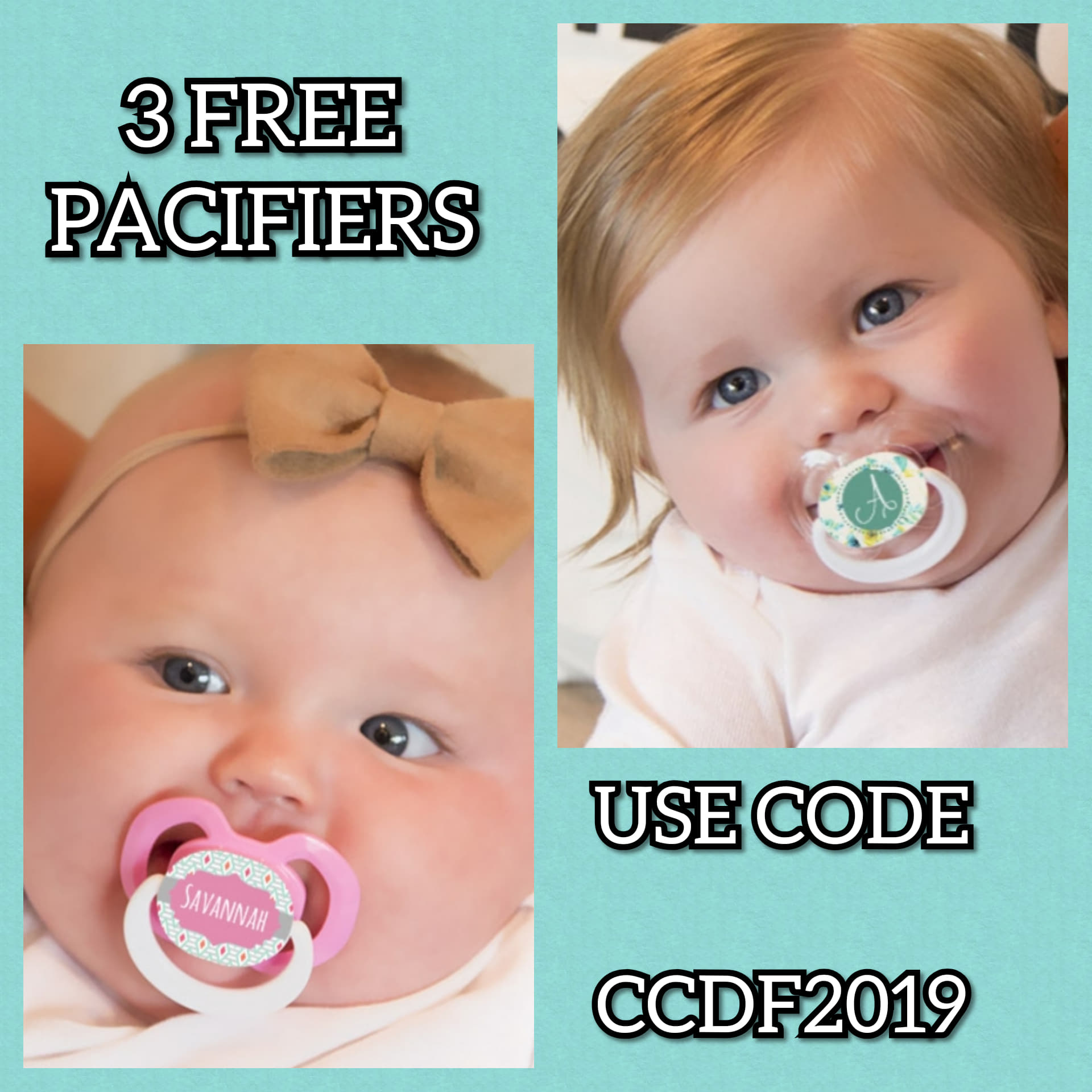 Free Customized Pacifiers Just Pay Shipping